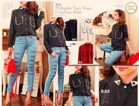 blouse polkadot unik